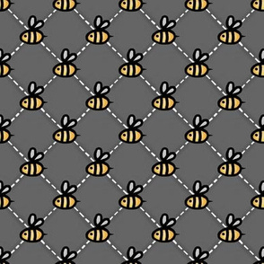 Save the Honey Bees  -Quilted Diamonds with Bees on Grey