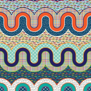Gone Fishing Cheater Quilt by ArtfulFreddy