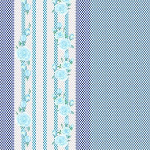 Ticking Stripe with Roses in Ice Blue