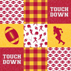 touch down - football wholecloth - cardinal and gold - college ball -  plaid  C19BS