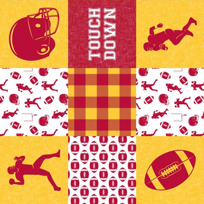 touch down - football wholecloth - cardinal and gold - college ball -  plaid  (90) C19BS
