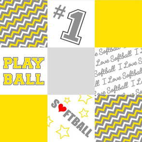 Softball One Yard Cheater Quilt