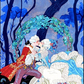 Marie Antoinette inspired baroque rococo Victorian lady gentleman lovers kissing couples boyfriend girlfriend blue ballgown roses forests garden night moon trees flowers park vines love romantic  beautiful female woman princess queen prince  pouf 18th cen