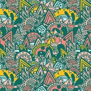 Mayan Fantasy / Pink, Yellow, Mint