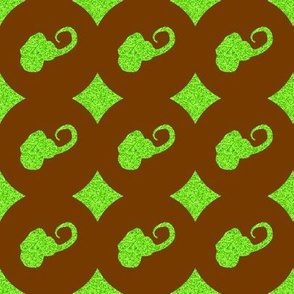 CD1 -  Speckled Elephant Silhouette Polka Dots in Lime Green and Brown
