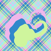 Medium - Pink, Yellow and Blue Elephant Silhouettes on Diagonal Pastel Plaid