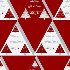 Xmas geometric triangle Dark red white
