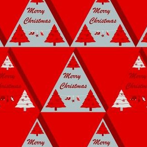 Geometrical Xmas triangle Red - tree, star and sock