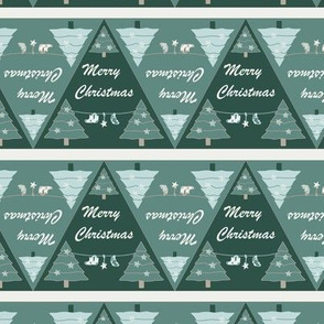 Xmas geometrical triangle with holiday trees in Green and light blue