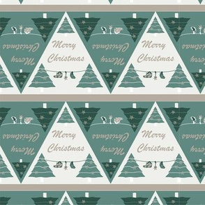 Elegant, geometrical Christmas pattern Beige green
