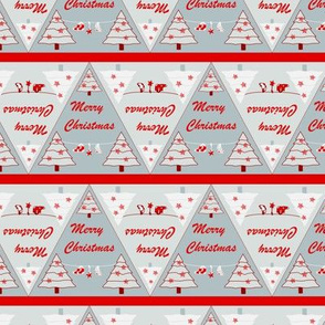 Xmas triangle upside down Grey red