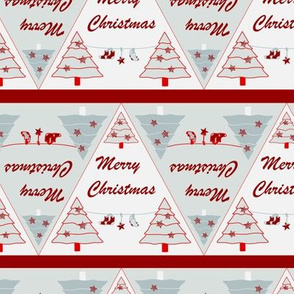 Geometric Christmas triangle White grey red