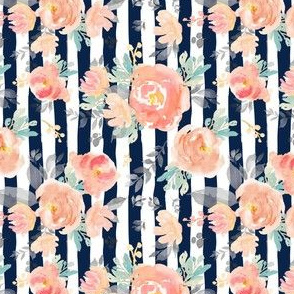 "4"" Coral Grey and Mint Florals - Navy Stripes 90 degrees"