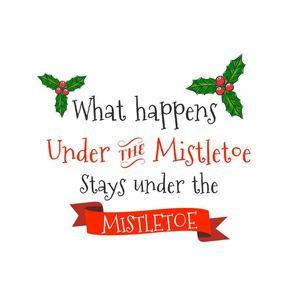 "18""x18"" - 6 to 1 yard of Minky What Happens Under the Mistletoe Quote"