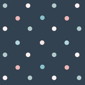 1171 Muted Pink _ Blue Dots Mix - navy