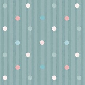 1173 Muted Pink _ Blue Dots Mix - vintage blue stripes