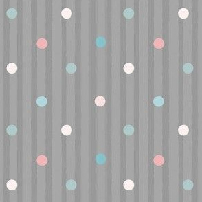 1174 Muted Pink _ Blue Dots Mix - vintage gray stripes