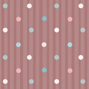 1175 Muted Pink _ Blue Dots Mix - vintage pink stripes