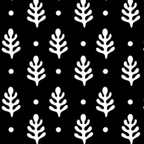 Pine Trees & Polka Dots White on Black