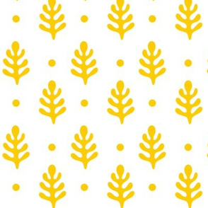 Pine Trees & Polka Dots Yellow on White
