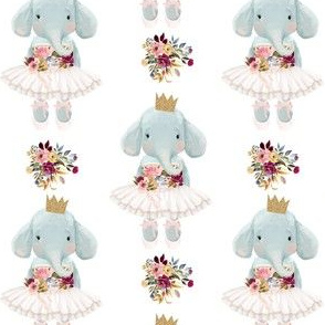 "4"" Ballerina Elephant with White Back"