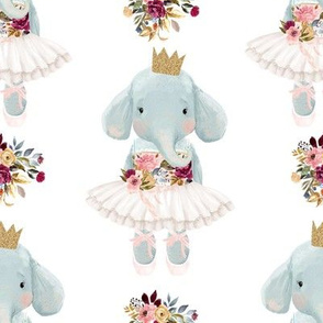 "8"" Ballerina Elephant with White Back"