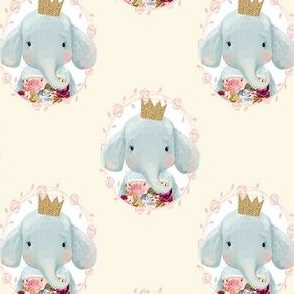 "4"" Winter Floral Elephant with Gold Crown Cream Back"