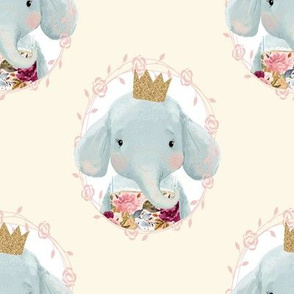 "8"" Winter Floral Elephant with Gold Crown Cream Back"
