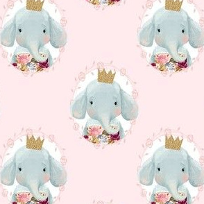"4"" Winter Floral Elephant with Gold Crown Pink Back"