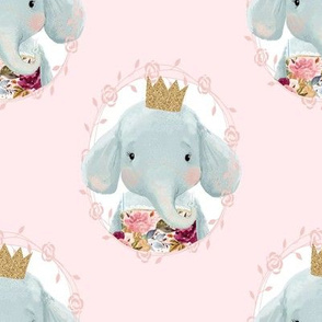 "8"" Winter Floral Elephant with Gold Crown Pink Back"