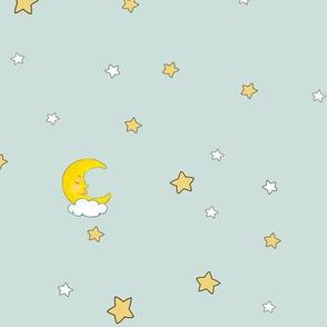 1189 Reindeer Babes Nursery - coordinate moon   stars - blue