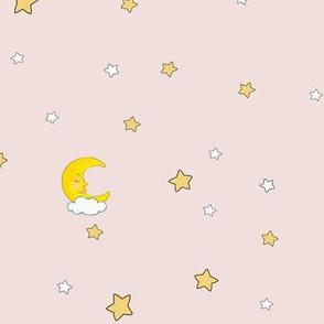 1190 Reindeer Babes Nursery - coordinate moon   stars - blush