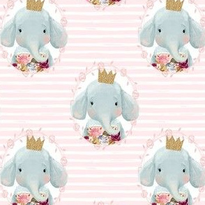 "4"" Winter Floral Elephant with Gold Crown with Pink and White Stripes"