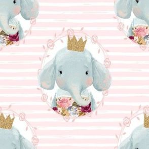 "8"" Winter Floral Elephant with Gold Crown with Pink and White Stripes"
