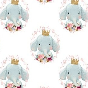 "4"" Winter Floral Elephant with Gold Crown"