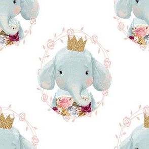 "8"" Winter Floral Elephant with Gold Crown"