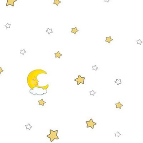 1192 Reindeer Babes Nursery - coordinate moon   stars - white