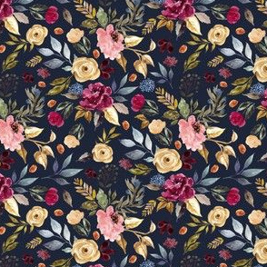 "4"" Winter Garden Florals Dark Blue Back"