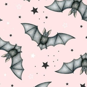 Ditsy Bats and Stars on blush - large scale
