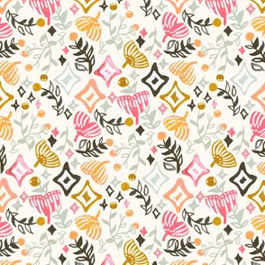 Abstract Ginkgo & Berry Pattern (Small Version)