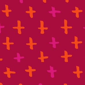 Raspberry, Magenta, and Orange Scandi Swiss Cross (+) Fat Eighth // Bright + Playful Color with Geometric Hand Drawn Motifs in Tints and Shades // Modern Quilting Collection // Small Scale // ZirkusDesign