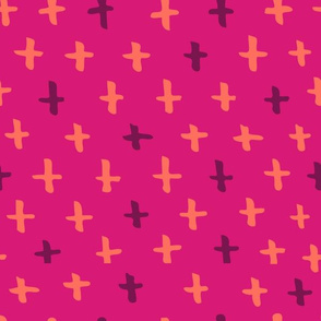 Magenta, Orange, and Eggplant Scandi Swiss Cross (+) Fat Eighth // Bright + Playful Color with Geometric Hand Drawn Motifs in Tints and Shades // Modern Quilting Collection // Small Scale // ZirkusDesign