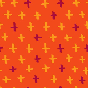 Orange and Gold Scandi Swiss Cross (+) Fat Eighth // Bright + Playful Color with Geometric Hand Drawn Motifs in Tints and Shades // Modern Quilting Collection // Small Scale // ZirkusDesign