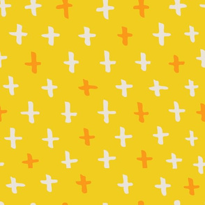 Gold, Cream, and Sunshine Scandi Swiss Cross (+) Fat Eighth // Bright + Playful Color with Geometric Hand Drawn Motifs in Tints and Shades // Modern Quilting Collection // Small Scale // ZirkusDesign