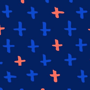 Navy Blue, Royal, and Orange Scandi Swiss Cross (+) Fat Eighth // Bright + Playful Color with Geometric Hand Drawn Motifs in Tints and Shades // Modern Quilting Collection // Small Scale // ZirkusDesign