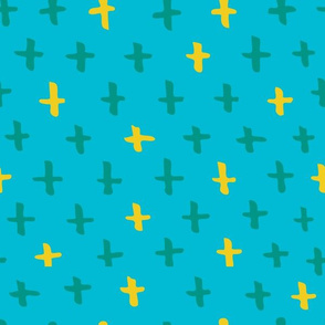 Aqua, Sunshine, and Kelly Green Scandi Swiss Cross (+) Fat Eighth // Bright + Playful Color with Geometric Hand Drawn Motifs in Tints and Shades // Modern Quilting Collection // Small Scale // ZirkusDesign