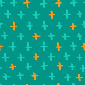 Turquoise, Aqua, and Orange Scandi Swiss Cross (+) Fat Eighth // Bright + Playful Color with Geometric Hand Drawn Motifs in Tints and Shades // Modern Quilting Collection // Small Scale // ZirkusDesign