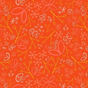 Orange Ditsy Floral Fat Eighth // Bright + Playful Color with Floral and Botanical Motifs // Quilting Collection // Small Scale // ZirkusDesign