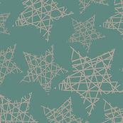 Christmas - geometrical striped stars Green beige