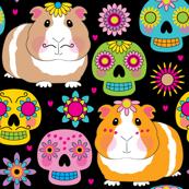 guinea pigs and sugar skulls on black